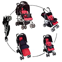 Duo Double Twin Tandem Pushchair by Kidz Kargo with 1 x free footmuff 2 seat units, fully reclining lie back at the rear. Suitable for born or up to 33lb/15kg, front seat from 6 months. Rain cover. Black/Red by Kidz Kargo
