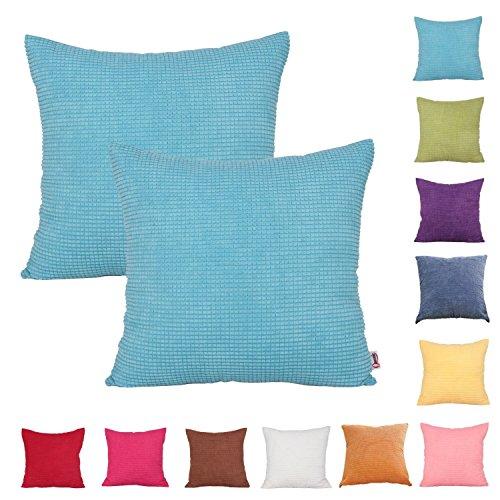 Confezione da 2 pezzi, in tinta unita, a coste, copridivano Federa per cuscino, federa, disponibile in 11 colori & 7 misure, azzurro, 40 x 40 cm
