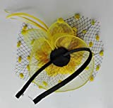 Coolwife Womens Fascinator Veil Flower Cocktail Tea Party Headwear (Yellow)