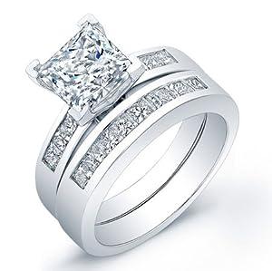 certified 2.20 ct princess cut diamond wedding engagement anniversary bridal ring set band