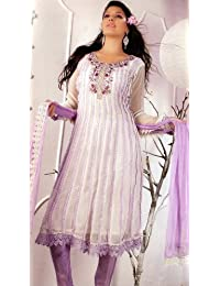 Exotic India Ivory And Lilac Flared Salwar And Choodidaar Suit - Ivory And Lilac