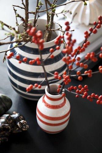 Kähler Design - Vase Omaggio - Streifen schwarz weiß - 20 cm