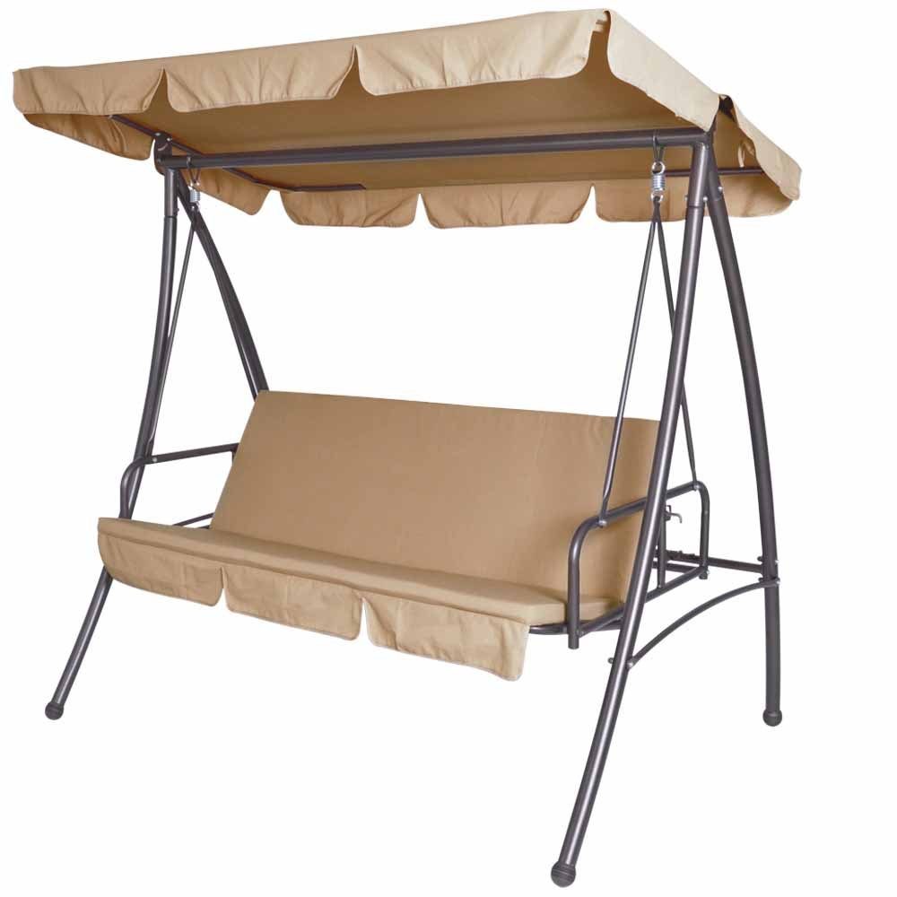 Hollywoodschaukel Gartenschaukel (Farbwahl) 3-Sitzer mit Bettfunktion inkl. Sitzauflage günstig bestellen
