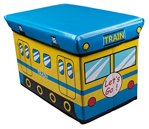Blue And Yellow Train Collapsible Toy Storage Box And Closet