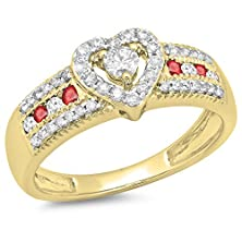 buy 10K Yellow Gold Round Ruby & White Diamond Ladies Bridal Heart Shaped Promise Engagement Ring (Size 9.5)