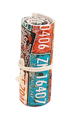 Nawoshow Nuovo modello Targa di stile Licenza Tela matita Wrap grande capacità Penna della scuola Roll Bag Wrap cancelleria bagagli Pen Box (senza matite inclusi) (36 fori)