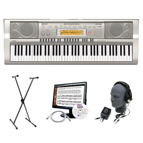 Casio WK-200EPA 76-Key Premium Keyboard Package with Headphones, Stand, Power Supply, 6-Feet USB Cable and eMedia Instructional Software