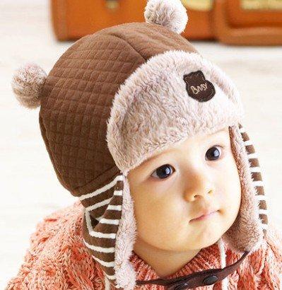 WeShop® - Nette Kinder Winter-Hippie Ohrenklappen-Mütze Lei Feng Cap 3504 Größe (48-50cm) - Kaffee