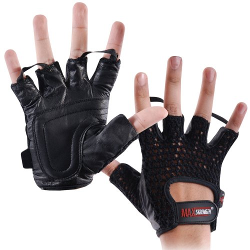 MAXSTRENGTH ® Black S/M Leather Mesh weight lifting bodybuilding weights training fingerless gloves mens womens.