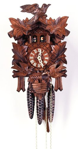 Cuckoo Clock Four leaves, moving birds, nest