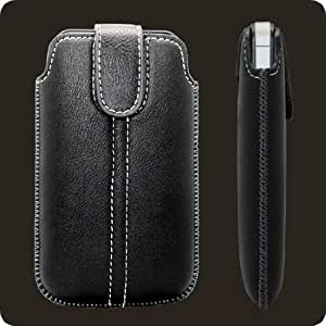Soft Leather Slip Pouch Case Cover Black for Blackberry Bold | Curve | Storm RIM Models - 9700, 9790, 9900 9930 Touch 3G 8300 8310 8320 8330 8350i 8520 8530 8900 9300 9350 9360 9370 9380 9500 9530 9520 9550