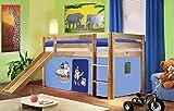 Hochbett Kinderbett Spielbett mit Rutsche Massiv Kiefer Natur