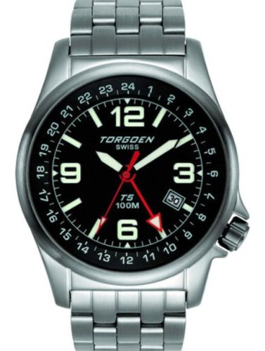 Torgoen T50102B01 - Reloj de mujer de cuarzo, correa de acero inoxidable color gris