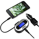 Insten 3.5mm FM Transmitter Car Kit Adapter Compatible with Samsung Galaxy S6/ Galaxy S6 Edge Samsung Galaxy Note 4 / Apple iPhone 6 Plus (5.5) HTC Inspire 4G