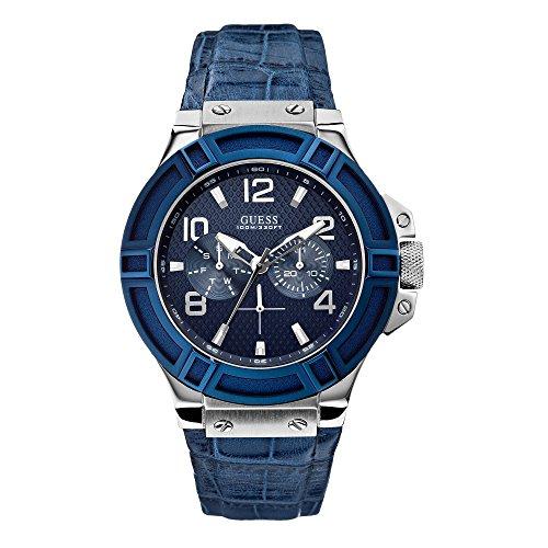 Guess W0040G7 - Reloj para hombres, correa de cuero color azul