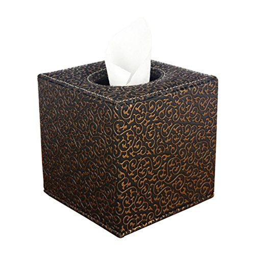 YJY PU Leather Tissue Holder Box Cover - Decorative Kleenex Facial Paper Dispenser Case for Bathroom Toilet Kitchen Office Car - Square 5.1 inch(14 Black Gold)