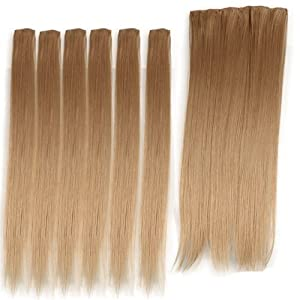 SODIAL(R) 12 Blonde #22 Straight Clip in Hair Weft Extensions 20