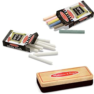 Image: Melissa and Doug Eraser and Chalk Bundle - When it's time to erase the chalkboard, use this traditional felt eraser with a solid wood handle to get the job done!