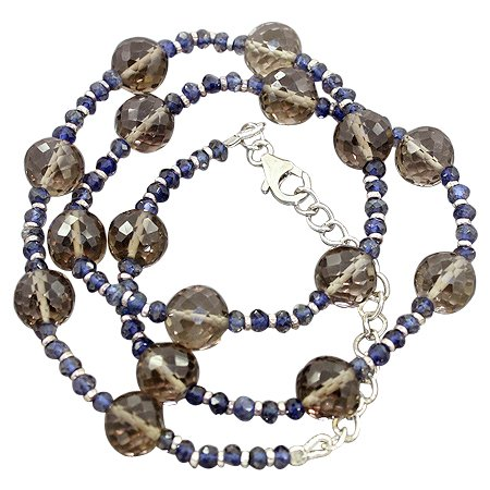 925 Sterling Silver Smoky Quartz Iolite Gemstone Beads Strand Necklace Size 19 Inches