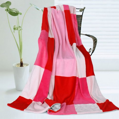Onitiva - [Cerelia] Soft Coral Fleece Patchwork Throw Blanket (59 By 78.7 Inches) front-254626