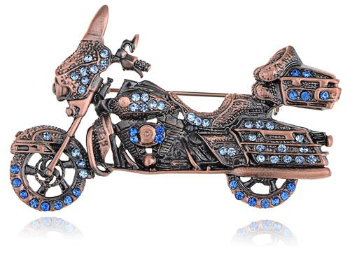 Sapphire Crystal Harley Davidson Rider Motorcycle Costume Jewelry Pin Brooch