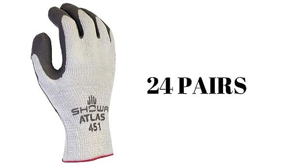 SHOWA Atlas 451 Palm Coating Natural Rubber Glove, 1-Gauge Insulated Seamless Knitted Liner, General Purpose Work, Large (Pack of 12 Pairs) (Medium 24 Pair) (Tamaño: Medium 24 Pair)