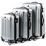 FERGÉ ensemble de valise (set de 3) LYON - 3 pièces de bagages avec 4 roues 360° argent en ABS rigide et léger