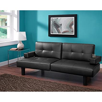 Connectrix Futon, Black Faux Leather