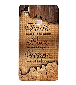 Faith Love Hope 3D Hard Polycarbonate Designer Back Case Cover for VIVO V3 MAX