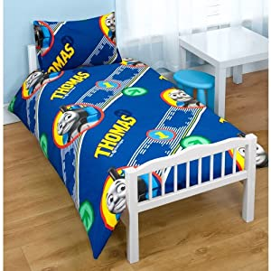 Boys Thomas The Tank Engine Junior Bed Quilt/Duvet Cover Bedding Set (Junior Bed) (Blue)