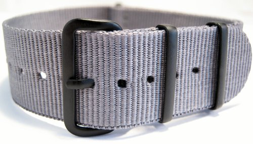 G10 Nato Military Grey Watch Strap Band Black Buckle 24mm