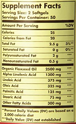 Solgar Flaxseed Oil Supplement, 1250 mg, 100 Count