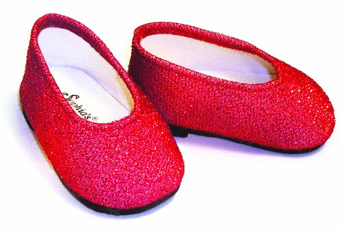 Red Glitter Dress Doll Shoes, Fits 18 Inch American Girl Dolls and More! 18 Inch Doll Accessories of Red Glitter Doll Shoes - 1