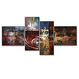 Neron Art - Aruba Abstract Oil Paintings Set of 4 Panels on Gallery Wrapped Canvas 72X38 inch (183X97 cm)