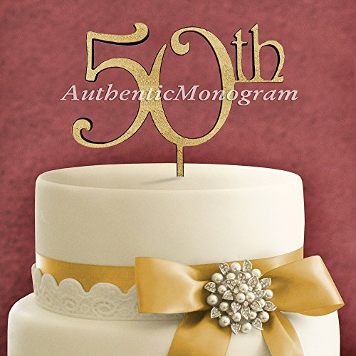 "6"" Wooden Painted ""50Th"" Anniversary Cake Topper, Initial Monogram, Celebration, Family Reunion, Special Occasion, Love Gift"