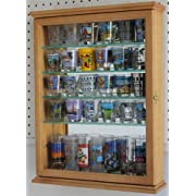 36 Souvenir Shot Glass Display Case Shadow Box Wall Mounted Cabinet Mirror Background OAK Finish (SCD06B-OA)