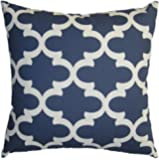 JinStyles® Cotton Canvas Quatrefoil Accent Decorative Throw Pillow Cover (UCLA Blue, White, Square, 1 Cover for 20 x 20 Inserts)