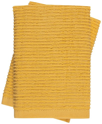 KAF Home Wave Dish Cloth, Set of 2, Yolk