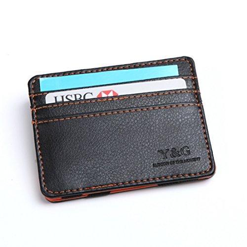 YCM020105 Black Orange Fashion Leather Magic Wallet New Year's Gifts By Y&G
