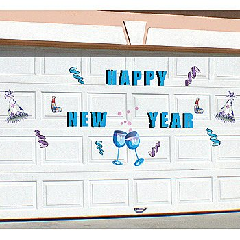 Happy New Year Holiday Graphic Display Shapes Steel Garage
