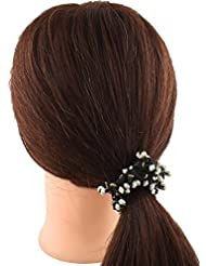 Anuradha Art White-Black Colour Styled With Beads Hair Accessories Hair Band Stylish Rubber Band For Women/Girls