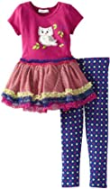 Bonnie Jean Girls 2-6X Owl Tutu Legging Set, Magenta, 6X