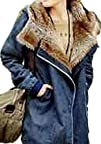 Women Thicken Jean Winter Coat Faux Fur Lining Collar Hooded