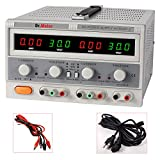 Dr.Meter® HY3005F-3 Triple Linear DC Power Supply, 30V, 5A [Alligator to Banana and AC Power Cable Included]