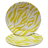 PrettyurParty Zebra Print Paper Plates (Pack Of 10) - Yellow