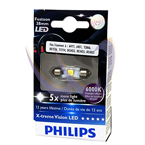 Philips 12859 X-Treme Vision Led 6000K 12V Xenon White T10 Interior Bulbs, 2 Pack