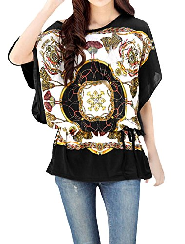 Allegra K Black L Dolman Sleeve Detachable Belt See Through Women Tunic Shirt
