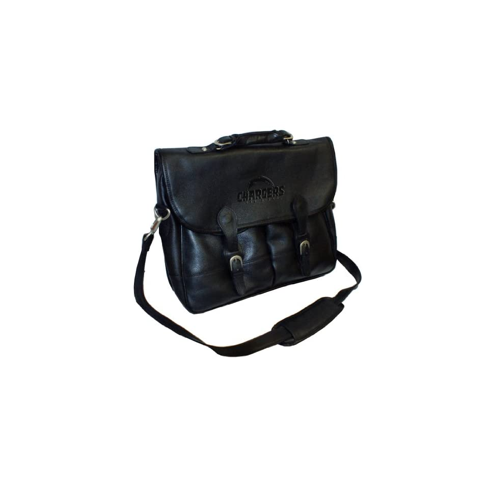 Debossed Black Leather Anglers Bag San Diego Chargers