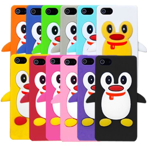Special Sale Bundle of 12 PCS Cute 3D Penguin Pattern Protective Case Silicon Cover for iPhone 5 (12 Colors)