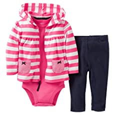 Carter's Baby Girls' 3 Piece Striped Cardigan Set (Baby) - Pink/White - 18 Months